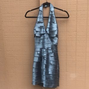 Sz XS Bebe Blue Satin Ruffled Halter Mini Dress